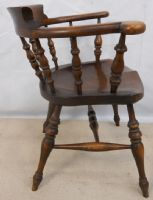 Set of Four Victorian Style Elm Smokers Bow Armchairs